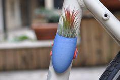 Cobalt Blue Bike Planter. wearableplanter on Etsy.