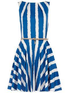 Blue belted flare dress