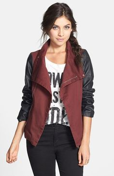 BRAND & LABEL COLLECTION Faux Leather Sleeve Twill Jacket (Juniors) available at #Nordstrom