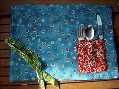 Take along placemat with utensils...Great idea for work and Gabe for school
