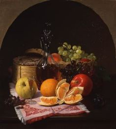 """""""Fruit and Wine"""", 1866 by Robert Spear Dunning, oil on canvas 24 1/4 inches X 22 1/4 inches"""