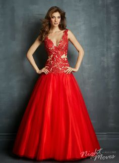 4c31d5f7c Alternate view of the Night Moves 7093 Plunging Neck Ball Gown image ·  Vestidos De NocheVestidos ...