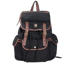 Vintage-Cool-Large-WOMEN-Casual-Canvas-Leather-Backpack-Rucksack-Bookbags-Bag