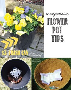 Check out these inexpensive flower pot tips!