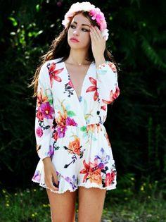 White,Floral Print,Long Sleeve,Romper,Playsuit,Pom Pom