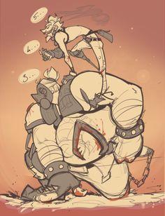 Junkrat and Roadhog Overwatch Comic, Overwatch Memes, Overwatch Fan Art, Hallowen Costume, Diy Halloween, Jamison Fawkes, Junkrat And Roadhog, Amazing Drawings, Game Art