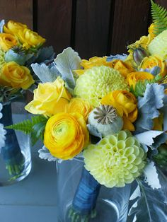EP's   yellows & greys with dahlias