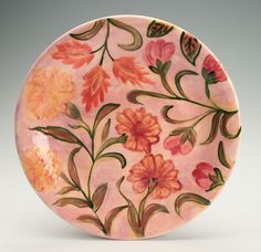 Flower Plate 101/4 Hand Painted Floral Pattern by owlcreekceramics, $31.00
