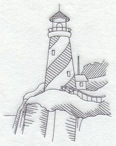 Swlighthousesirl Stripe Lighthouse Lighthouse Drawing Lighthouse Art Hand Embroidery Patterns Machine Embroidery Designs