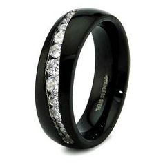 Black Stainless Steel Channel Cubic Zirconia Ring