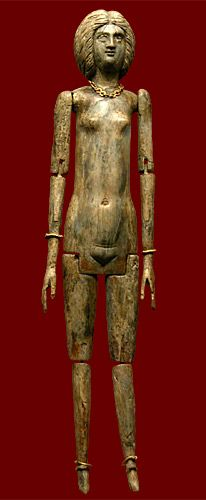 Jointed ivory doll (Roman, end 1st - beginning 2nd century CE)  Doll is anatomically correct, wears a gold necklace, bracelets, and anklets, and has a face and hairstyle imitating that of the empress Julia Domna