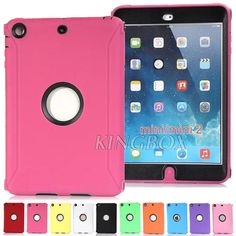 Heavy Duty Rugged 3-Piece Dual Layer Soft Hard Combo Case Cover for iPad mini and ipad mini with retina display Built-in Screen Protector Film