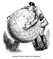 """""""Germany Shall Never Be Encircled."""" - 1939 - Hitler tries but fails to pick up the world - Punch magazine cartoon by E H Shepard Francisco Miranda, History Cartoon, Punch Magazine, Vintage Oddities, Satirical Illustrations, Arm Art, Us History, Political Cartoons, Political Party"""