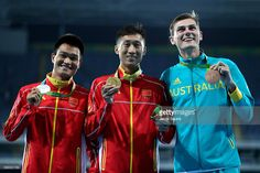 Bronze for Australia - Zhen Wang of China (C) poses with the gold medal, Zelin Cai of China (L) with the silver medal and Dane Bird-Smith of Australia with the bronze medal for the Men's 20km Race Walk on Day 7 of the Rio 2016 Olympic Games at the Olympic Stadium on August 12, 2016 in Rio de Janeiro, Brazil. #rio2016