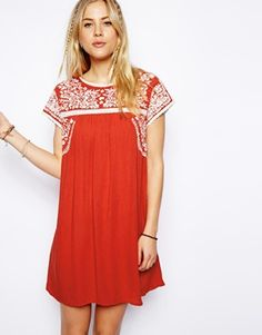 ASOS+Premium+Swing+Dress+With+Embroidery