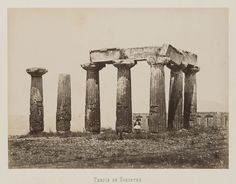 Corinthe. Temple d'Apollon © Musée Guimet, Paris, Distr. Rmn / Image Guimet Art Asiatique, Ancient Greece, Seattle Skyline, Paris, Rome, Images, Photos, Antiques, Temples