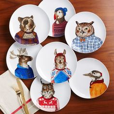 A well-dressed animal should always be allowed at the table Dapper Animal Plates | west elm