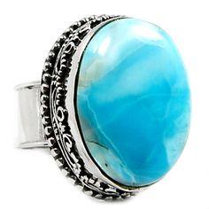 Larimar (Dominican Republic) 925 Sterling Silver Ring Jewelry s.8 LRIR2260