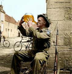 Sergeant C. Orton of The Highland Light Infantry of Canada drinking cider, France, 20 June Legend: Canada's Military History Canadian Soldiers, Canadian Army, British Army, Canadian History, Man Of War, Canada, Military History, World War Ii, Wwii
