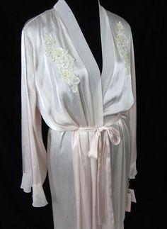 Linea Donatella Long Wrap Robe Lounge Blush Pink Large XL Bridal Pearls  Sequins 1772853a3