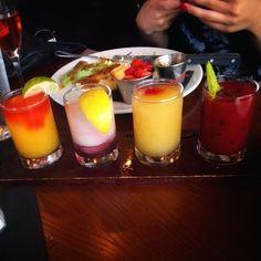 Frozen flight...Mango Margarita...Electric Blue Lemonade...Peach Bellini...Wild Berry Mojito... #cocktails #frozencocktails