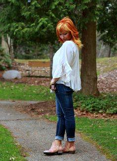 Fashion Fairy Dust style blog: sheer peasant top, moto jacket, floral ankle boots