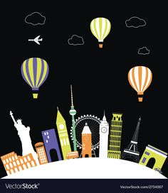 Hot air balloons over the world vector image on VectorStock Web Design, Graphic Design, Single Image, Hot Air Balloon, Adobe Illustrator, Vector Free, Balloons, Pdf, City