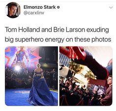 Tom Holland and Brie Larson exuding big superhero energy on these photos Wanda Marvel, Marvel Actors, Disney Marvel, Marvel Dc Comics, Marvel Characters, Funny Marvel Memes, Dc Memes, Avengers Memes, Marvel Jokes