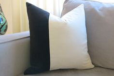VELVET COLORBLOCK // more sizes Black and White by WillaSkyeHome