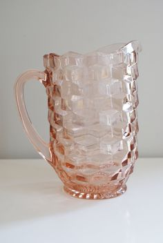 Vintage Pink Depression Glass Pitcher