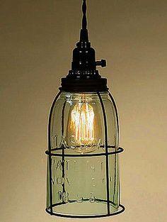 Rustic Half Gallon Caged Mason Jar Open Bottom Industrial Pendant Light Lamp GR | eBay