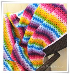 Granny stripe crochet blanket - bright colours... esp the white border!