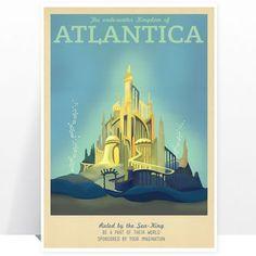 Disney Atlantica Little Mermaid Retro Travel Print