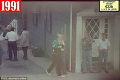 Vincent Asaro outside a Bonanno family social club on Grand Avenue in Queens walking with Anthony Mannone (aka Anthony Elmont) , in the-doorway is James Tartaglione and Carmine Peluso