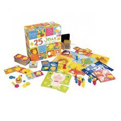 Coffret 25 jeux pour les petits, sur le thème des animaux. Contient : 28 dominos, 48 cartes mémos, 6 cartes lotos, 16 pions en bois massif, jeu du cochon, de dada, de l'oie, d'échelles… Livré avec livret de règles, ardoise et craie. Idéal pour de joyeuses parties en famille.