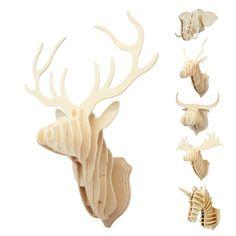 Pas cher Du # 3D bois Puzzle en bois bricolage modèle tenture de la faune animale tête Sculpture livraison gratuite, Acheter  Wood Crafts de qualité directement des fournisseurs de Chine:    Du # 3D en bois de puzzle en bois DIY modèle tenture animal de la faune tête Sculpture Livraison gratuite