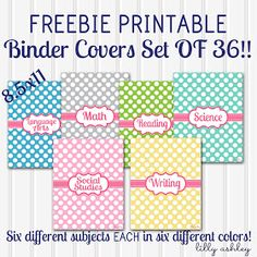 school notebook binder cover free printables subjects