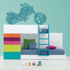 Vinilos decorativos de Moto para decoración de paredes con una moto de estilo harley, para los amantes de las motos.