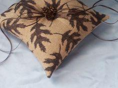 Fall Leaves Burlap Ring Bearer Pillow