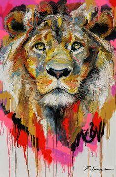 jpg - Painting © 2015 by Vincent Richeux -- ocotobre-rose.jpg – Painting © 2015 by Vincent Richeux – - Graffiti Art, Vincent Richeux, Tableau Pop Art, Instagram Tbt, Street Art, Street Mural, Lion Painting, Lion Art, Guache