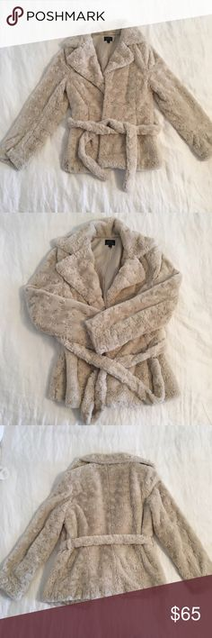 🎉Host Pick! UbU Faux Fur Coat UbU faux fur coat in cream, super cozy, flattering waist belt, 100% polyester, only worn a few times so top condition, accept reasonable offer, 🎉Host Pick 2/4, no trades sorry! 😊 UbU Jackets & Coats