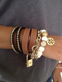 stacked bracelets, fashion, style, accessori, tory burch, handmade bracelets, diy bracelet, jewelri, arm candies