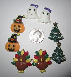 8 NEW HOLIDAY MIX CHRISTMAS HALLOWEEN THANKSGIVING FLAT BACK RESINS