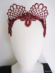 Red Fascinator Lace Cat Ear Headpiece Horse racing Crown Burlesque Headband b19e83e1e6a