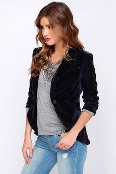 Always and forever, our Hopeless Romantic Navy Blue Velvet Blazer will be there to dress you up in a bit of luxury! The softest navy blue velvet forms a classic blazer design with lightly padded shoulders for shape, notched lapels, two welted pockets, and a rounded bottom hem all joined by a single black button closure. Sleeves gather at the cuffs to a chic three-quarter length. Vent slit at back. Fully lined. Self: 93% Polyester, 7% Spandex. Lining: 100% Polyester. Hand Wash Cold.