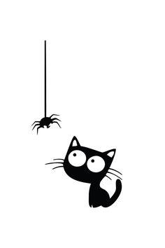 Vente AMBIANCE STICKER / 23259 / Nature et animaux / Stickers Chat et araignée Noir