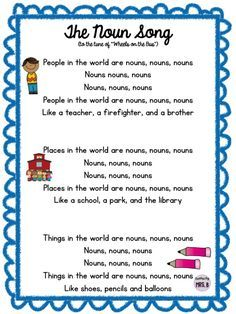 """Free, fun song to help learn nouns! To the tune of """"Wheels on the Bus""""! Nouns Kindergarten, Teaching Nouns, Teaching Writing, Student Teaching, Teaching English, English Grammar, Teaching Time, Teaching Strategies, Grammar Activities"""