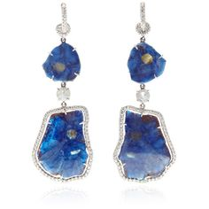 Nina Runsdorf One Of A Kind Sapphire And Diamond Earrings ($9,200) ❤ liked on Polyvore featuring jewelry, earrings, pave diamond earrings, diamond jewellery, diamond earrings, pave diamond jewelry and diamond jewelry