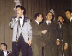 """Elvis and The Jordanaires at the Ellis Auditorium (matinee show) February 25, 1961, for the """"Memphis Charity"""" Show. Over $51,612 was raised, from the two shows. Elvis performed for the last time """"at the Ellis"""" with Scotty."""