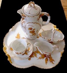 LIMOGES FRANCE W. M. GUERIN CHOCOLATE TEA COFFEE SERVICE GOLD GILT C. 1890 #WILLIAMGUERINLIMOGES